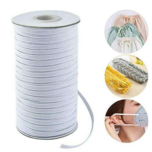ZGYQGOO 100 Meter DIY hausgemachte elastische Seil Flache elastische Seil weiße elastische Seil Ohrlinie