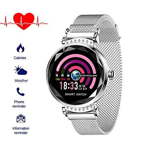 Fitnessuhr mit Blutdruckmessung FüR Damen Intelligente Uhr Wasserdicht Pulsuhren Fitness Tracker Smartwatch Bluetooth,1.04Zoll Touchscreen,Elegant,Gut Bedienbare,TäGlichen Leben (Silber)
