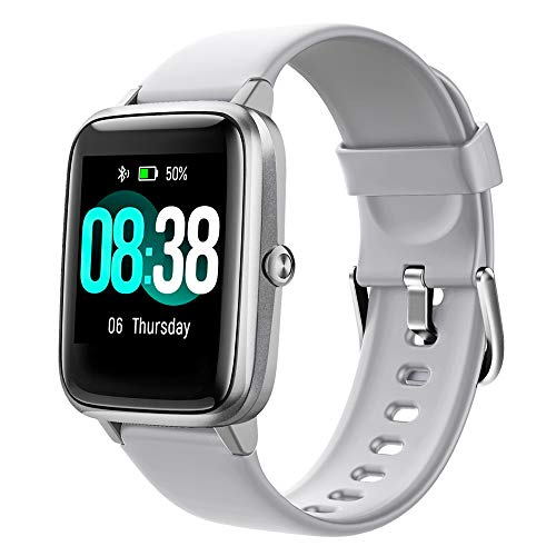 YONMIG Smartwatch, Fitness Armband Tracker Voller Touch Screen Uhr Wasserdicht IP68 Armbanduhr Smart Watch mit Schrittzähler Pulsmesser Stoppuhr Sportuhr Bluetooth für iOS Android Damen Herren (Grey)