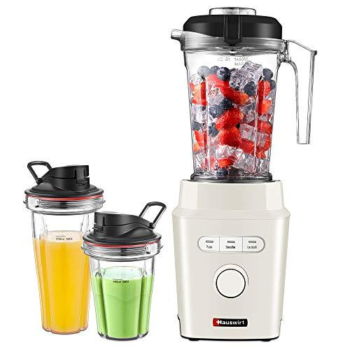 Standmixer Smoothie Maker, Hauswirt 1200W Mixer 30000 Umdr. / Min, BPA-freie 1,45L Glasbehälter und 2x Trinkflaschen, Spülmaschinenfest, Ice-Crush, Smoothie und Pulsfunktion, Edelstahlmesser