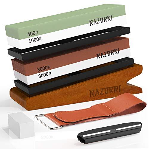 Razorri Abziehsteine Set, doppelseitig 400/1000 und 3000/8000 Grit mit Abrichtstein, Winkelführung, Bambusbasis, Lederstreifen, für Metallklinge schärfen und polieren (Abgewinkelte Basis)