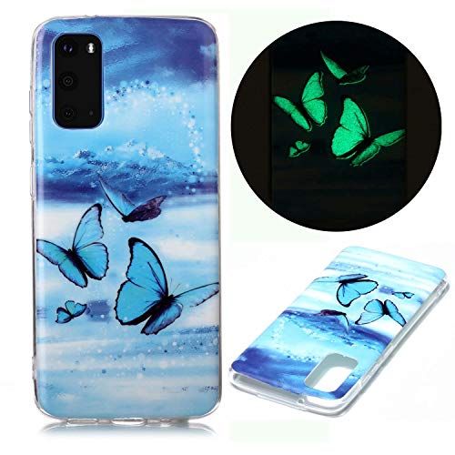 Miagon Leuchtend Luminous Hülle für Samsung Galaxy A51,Fluoreszierend Licht im Dunkeln Handyhülle Silikon Case Handytasche Stoßfest Schutzhülle,Blau Schmetterling