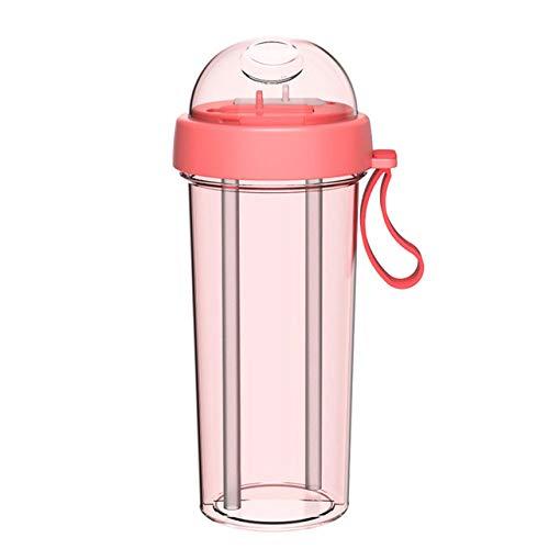 Mdsfe 420 / 600ml Tragbare Dual Straw Separate Kunststoff SportgetränkWasser Getränkeflasche Paare GeschenkLebensmittelqualität Kunststoff Anti-Leck - Pink 420ml