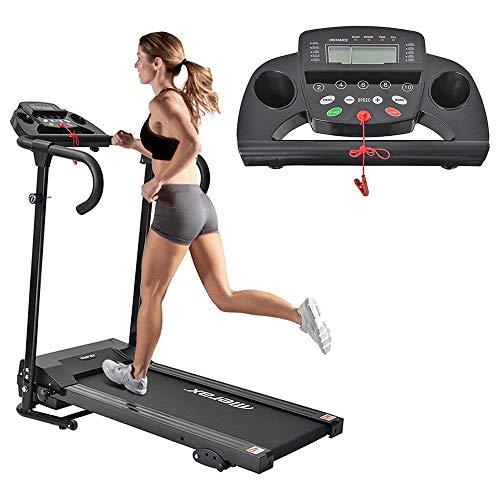 GoZheec Klappbar Elektrisches Laufbander Fitnessgeräte Kompakt mit LCD-Display und Tablethalterung, 12 Programmen 1-10km/h Lauftraining für Profi und Einsteiger