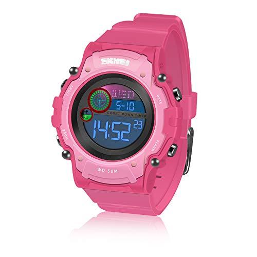 ATOPDREAM Spielzeug Mädchen 5-15 Jahre, Spielzeug Junge 5-15 Jahre Cool Sport Große Anzeige LED Sportuhr Geschenke für Jungen ab 5-15 (Rosa)