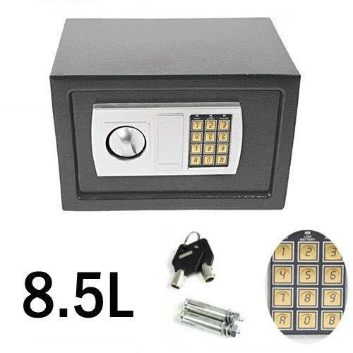KTDT Home/Office/House Safe, 8,5 l digitales Passwort Kassenschublade mit Schlüssel, graue Kassenschublade Wandtresor 31 cm x 20 cm x 20 cm