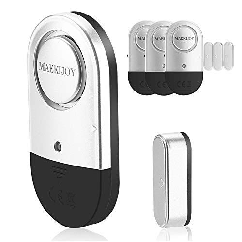 4er Set MAEKIJOY Tür Fenster Alarm Einbruchschutz mit Batterien - Drahtlose 120dB Fensteralarm Türalarm Alarmanlage für Zuhause, Garage, Büro, Vitrinen, Kinder Sicherheit