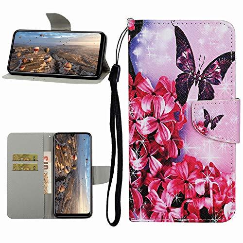 Miagon Hülle für Samsung Galaxy A20e,Handyhülle PU Leder Brieftasche Schutz Flip Case Wallet Cover Klapphüllen Tasche Etui mit Kartenfächern Stand,Rot Blume