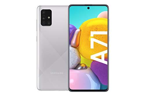 Samsung Galaxy A71 Android Smartphone ohne Vertrag, 4 Kameras, 4.500 mAh Akku, Schnellladen, 6,7 Zoll Super AMOLED Display, 128 GB/6 GB RAM, Dual SIM, Handy in silber, deutsche Version