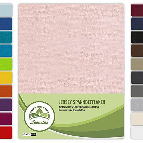 leevitex WASSERBETTEN & BOXSPRINGBETTEN Spannbettlaken Jersey 200x220cm +40cm Steghöhe Zertifiziert nach ÖKOTEX Standard 100% Baumwolle (Leinen/Apricot)