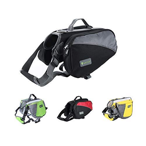Wellver Hunderucksack zum Wandern, Satteltasche für Haustiere, leichte Reisetasche und Wandertasche für Hunde (XL, Grau + Schwarz)
