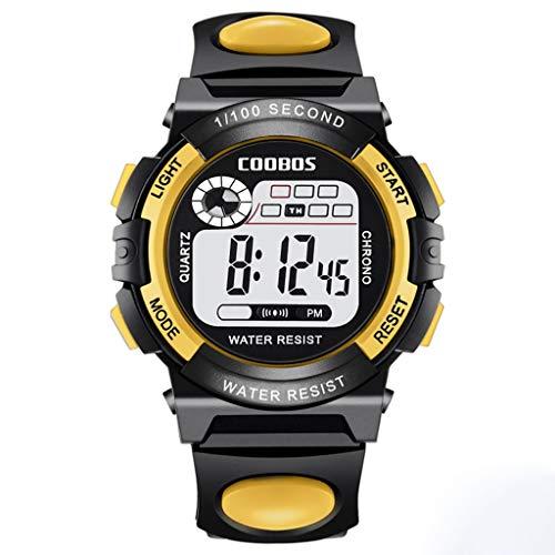 Kinderuhren Bunte Leuchtende Jungen Und Mädchen/Erwachsene wasserdichte Multifunktionale Elektronische Uhr, LED-Sportuhr Einfache Und Stilvolle Uhr (Color : Yellow, Size : L)