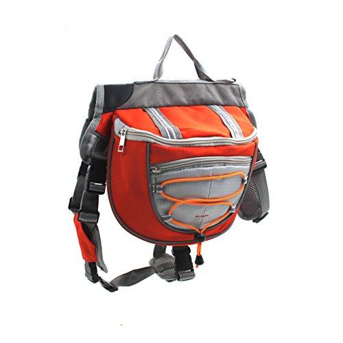 Satteltasche Hund Hunderucksack Reflektierende für Wandern Reisen Camping Hundebackpack für Mittelgroße Große Hunde (M, Orange)