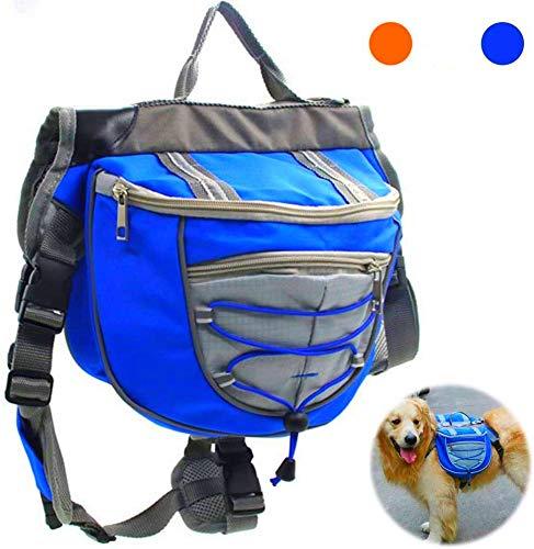 Satteltasche Hund Hunderucksack Reflektierende für Wandern Reisen Camping Hundebackpack für Mittelgroße Große Hunde (L, BLEU)