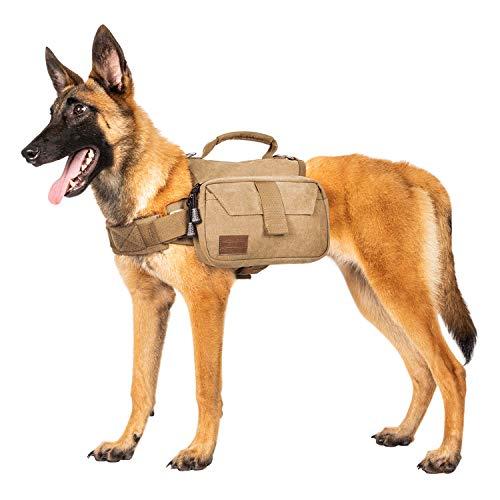 OneTigris Hunderucksack Camping Wandern Reißen Hundebackpack für M/L Größe Hunde |MEHRWEG Verpackung (M, Braun)