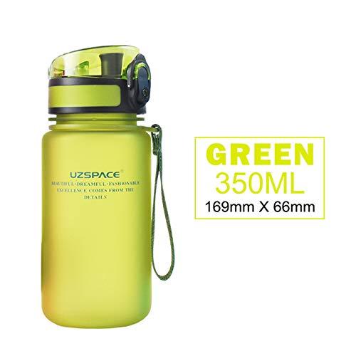 PUK 350ML Wasserflaschen Kostenlose Kinder Cartoon Lovely Shaker Sportgetränk Meine Flasche Tragbares auslaufsicheres umweltfreundliches Plastik-Trinkgeschirr, grün, 350ml
