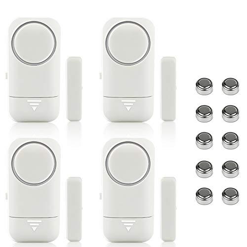 Shackcom 4pcs Fensteralarm Türalarm Selbstklebend Alarm Fenster 120dB mit Wireless Magnetsensor für Home Security Einbruchschutz Türalarmsensor mit Batterien