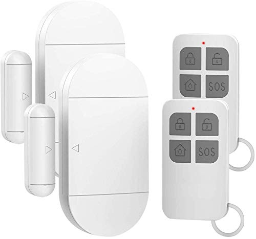 Shackcom 2pcs Fensteralarm Türalarm Selbstklebend Alarm Fenster 130dB mit Wireless Magnetsensor Sirene 3 Alarmtöne mit 2 Fernbedienungen für Home Security Einbruchschutz Türalarmsensor mit Batterien