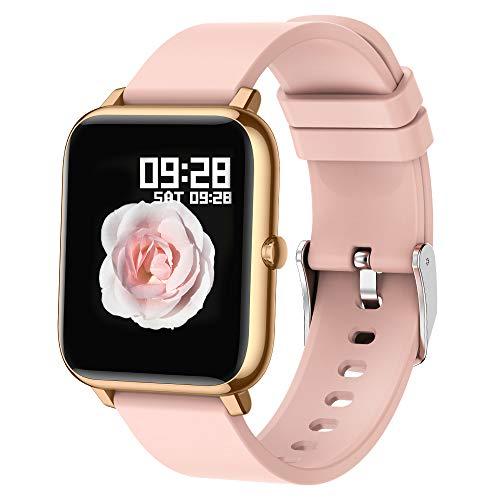 Popglory Smartwatch Fitness Tracker mit Blutsauerstoff Blutdruck Herzfrequenzmesser IP67 wasserdichte Smartwatch Fitnessuhr Smartwatch für Männer Frauen kompatibel Android iOS