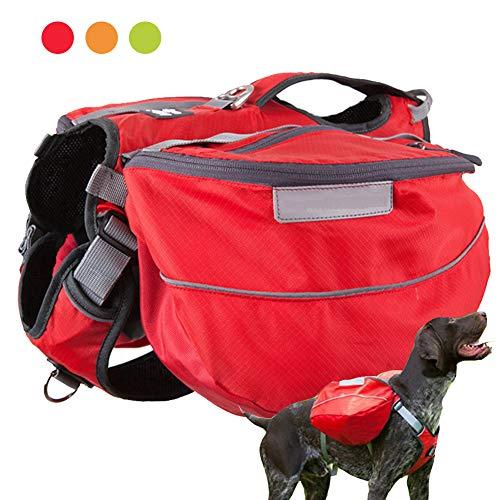 PJDDP Satteltasche Für Hund, Hund Packtaschen,Doppeltasche Für Hound, Hunderucksack Verstellbar, Fürs Wandern, Camping, Weste Für Mittelgroße Und Große Hunde, Für Draußen,Rot,XL