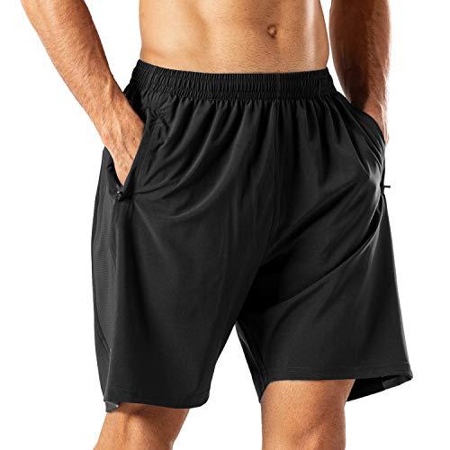 Herren Sport Shorts Schnell Trocknend Kurze Hose mit Reißverschlusstasch(Schwarz,4XL)