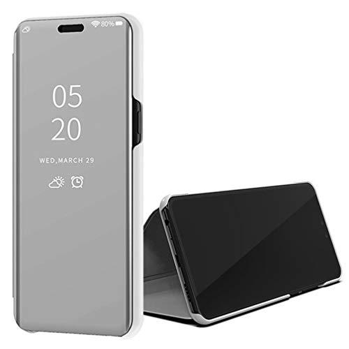 ColiColi Handyhülle für Samsung Galaxy S20 FE Hülle, Spiegel Ultra Slim Smart Clear View Booklet Transluzent Schutzhülle mit Standfunktion und Magnet für Samsung Galaxy S20 FE Smartphone, Silber