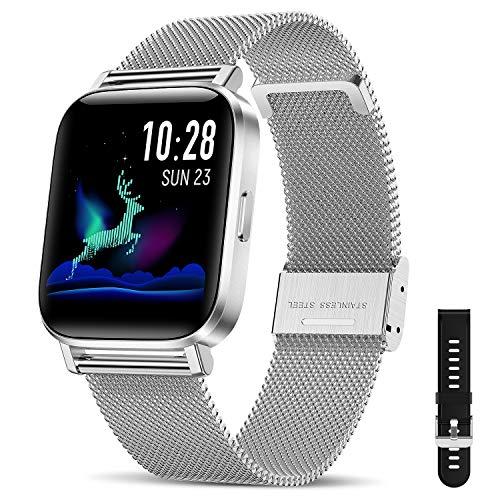 """CanMixs Smartwatch Fitness Armband Uhr 1.54\"""" Voller Touch Screen Fitnessuhr IP68 Wasserdicht Fitness Tracker Sportuhr mit Schrittzähler Pulsuhren Stoppuhr Musiksteuerung für iOS Android Damen Herren"""