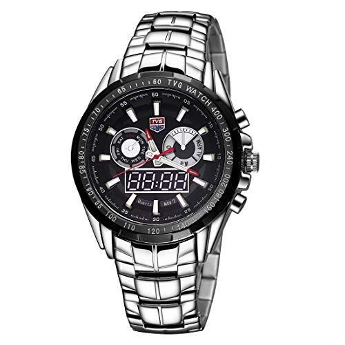 Für Uhren SSL TVG Rundknopf aus Glas mit hellem und Alarm und Week-Display mit Quarzuhrfunktion + digitalem Doppel-Uhrwerk mit Legierung, Farbe: Schwarz