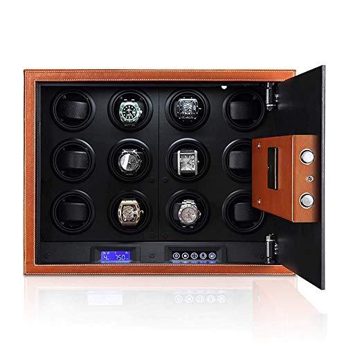 Tresore,12 Uhrenbeweger-Sicherheitsbox - Für 12 Automatische Uhren Leise/Einfache Einrichtung / 4 Vorprogrammierte Modi Mikrofaser-Leder-Led-Touchscreen-Safe-Box-Uhrenbeweger