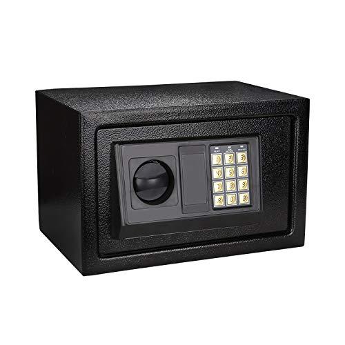 Hengda Tresor (31x20x20cm) Elektronischer Safe, Elektronik Zahlenschloss, Montagematerial Safe, Möbeltresor Schwarz,Wandtresor